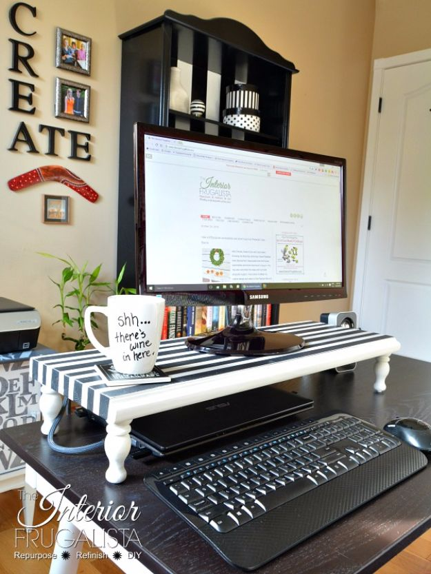 DIY Ideas For Your Computer   DIY Computer Monitor Stand   Cool Desk, Home  Office