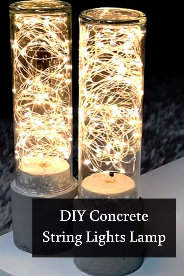 DIY Lighting Ideas and Cool DIY Light Projects for the Home - DIY Concrete String Lights Lamp - Easy DIY Ideas for Chandeliers, lights, lamps, awesome pendants and creative hanging fixtures, complete with tutorials with instructions. Cheap do it yourself lighting tutorials for indoor - bedroom, living room, bathroom, kitchen DIY Projects and Crafts for Women and Men