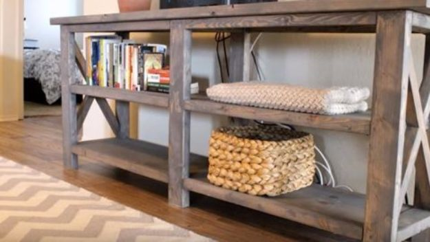 DIY Media Consoles and TV Stands - DIY Console Table - Make a Do It Yourself Entertainment Center With These Easy Step By Step Tutorials - Easy Farmhouse Decor Media Stand for Television - Free Plans and Instructions for Building and Painting Your Own DIY Furniture - IKEA Hacks for TV Stand Idea - Quick and Easy Ways to Decorate Your Home On A Budget http://diyjoy.com/diy-tv-media-consoles