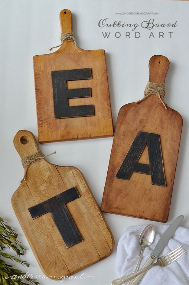 Cheap Wedding Gift Ideas - DIY Cutting Board Wall Art - DIY Wedding Gifts You Can Make On A Budget - Quick and Easy Ideas for Handmade Presents for the Couple Getting Married - Inexpensive Things To Make for Bride and Groom - DIY Home Decor, Wall Art, Glassware, Furniture, Tableware, Place Settings, Cake and Cookie Plates and Glasses http://diyjoy.com/cheap-diy-wedding-gift-ideas