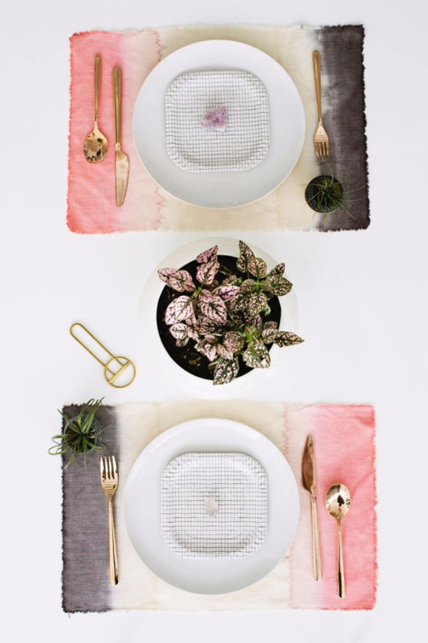 DIY Napkins and Placemats - DIY Dip Dye Placemats - Easy Sewing Projects, Cute No Sew Ideas and Creative Ways To Make a Napkin or Placemat - Quick DIY Gift Ideas for Friends, Family and Awesome Home Decor - Cheap Do It Yourself Kitchen Decor - Simple Wedding Gifts You Can Make On A Budget http://diyjoy.com/diy-napkins-placemats