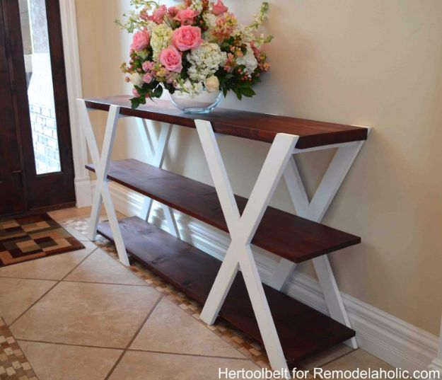 DIY Media Consoles and TV Stands - DIY Double X Console Table - Make a Do It Yourself Entertainment Center With These Easy Step By Step Tutorials - Easy Farmhouse Decor Media Stand for Television - Free Plans and Instructions for Building and Painting Your Own DIY Furniture - IKEA Hacks for TV Stand Idea - Quick and Easy Ways to Decorate Your Home On A Budget http://diyjoy.com/diy-tv-media-consoles