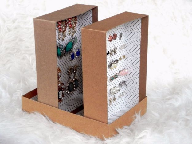 DIY Ideas With Shoe Boxes - DIY Earring Organizer - Shoe Box Crafts and Organizers for Storage - How To Make A Shelf, Makeup Organizer, Kids Room Decoration, Storage Ideas Projects - Cheap Home Decor DIY Ideas for Kids, Adults and Teens Rooms http://diyjoy.com/diy-ideas-shoe-boxes