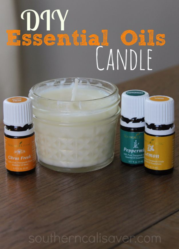 DIY Ideas for Candles - DIY Essential Oil Candle - Cute, Cheap and Creative Ways to Decorate With Candles - Votives and Candle Holders Make Some Of Our Favorite Home Decor Ideas and Homemade Do It Yourself Gifts - Give One of These Inexpensive Ideas to Mom, Dad and Friends - Easy Dollar Store Crafts With Candle http://diyjoy.com/diy-ideas-candles