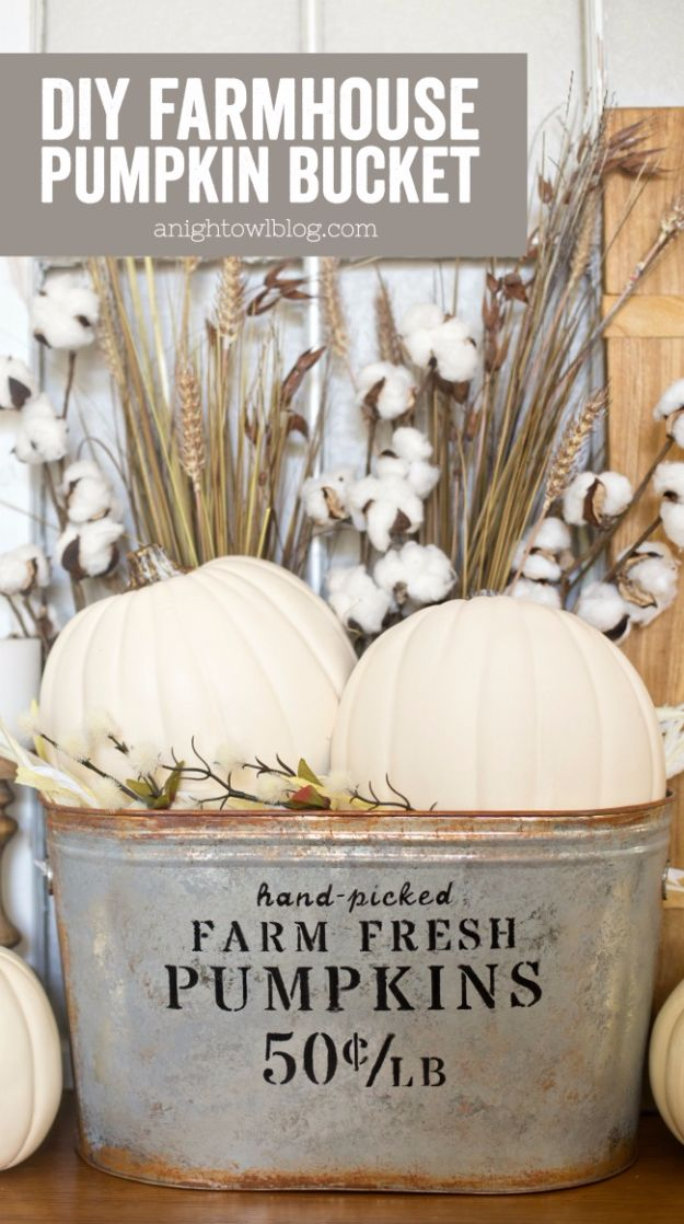 Best Crafts for Fall Decorating - DIY Farmhouse Pumpkin Bucket - DIY Home Decor, Mason Jar Ideas, Dollar Store Crafts, Rustic Pumpkin Ideas, Wreaths, Candles and Wall Art, Centerpieces, Wedding Decorations, Homemade Gifts, Craft Projects with Leaves, Flowers and Burlap, Painted Art, Candles and Luminaries for Cool Home Decor - Quick and Easy Projects With Step by Step Tutorials and Instructions http://diyjoy.com/best-fall-decorating-ideas