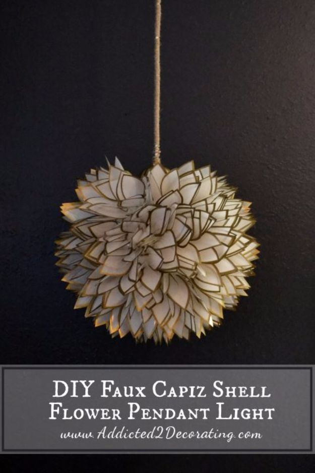 DIY Lighting Ideas and Cool DIY Light Projects for the Home - DIY Faux Capiz Shell Flower Pendant Light - Easy DIY Ideas for Chandeliers, lights, lamps, awesome pendants and creative hanging fixtures, complete with tutorials with instructions. Cheap do it yourself lighting tutorials for indoor - bedroom, living room, bathroom, kitchen DIY Projects and Crafts for Women and Men http://diyjoy.com/diy-indoor-lighting-ideas