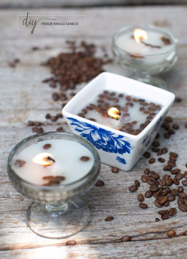 DIY Ideas for Candles - DIY French Vanilla Candles - Cute, Cheap and Creative Ways to Decorate With Candles - Votives and Candle Holders Make Some Of Our Favorite Home Decor Ideas and Homemade Do It Yourself Gifts - Give One of These Inexpensive Ideas to Mom, Dad and Friends - Easy Dollar Store Crafts With Candle http://diyjoy.com/diy-ideas-candles