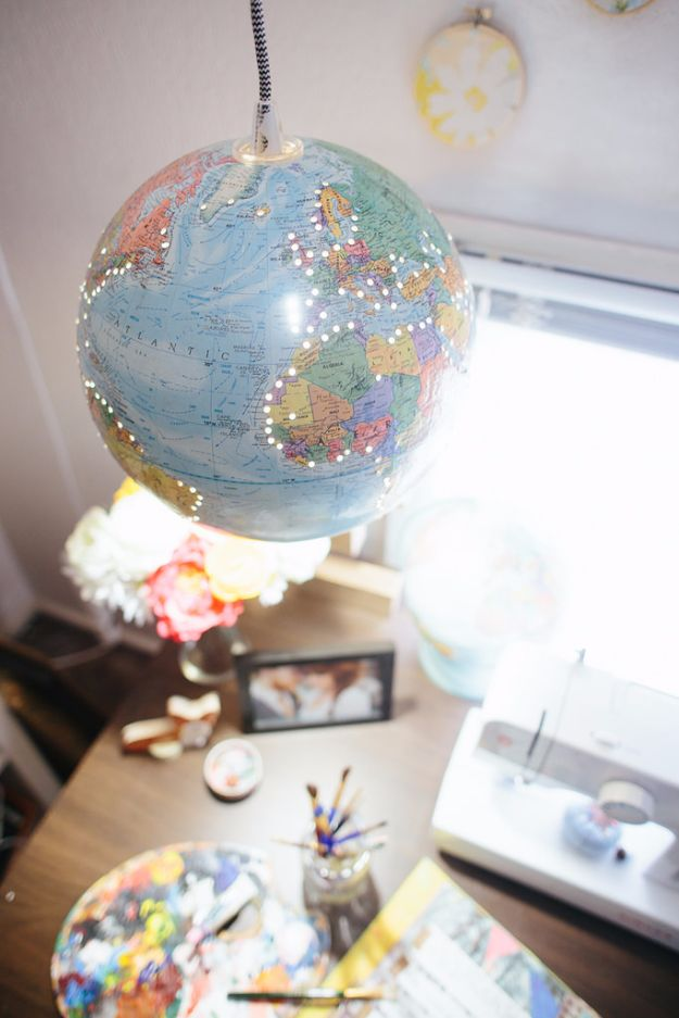 DIY Lighting Ideas and Cool DIY Light Projects for the Home - DIY Globe Hanging Light - Easy DIY Ideas for Chandeliers, lights, lamps, awesome pendants and creative hanging fixtures, complete with tutorials with instructions. Cheap do it yourself lighting tutorials for indoor - bedroom, living room, bathroom, kitchen DIY Projects and Crafts for Women and Men