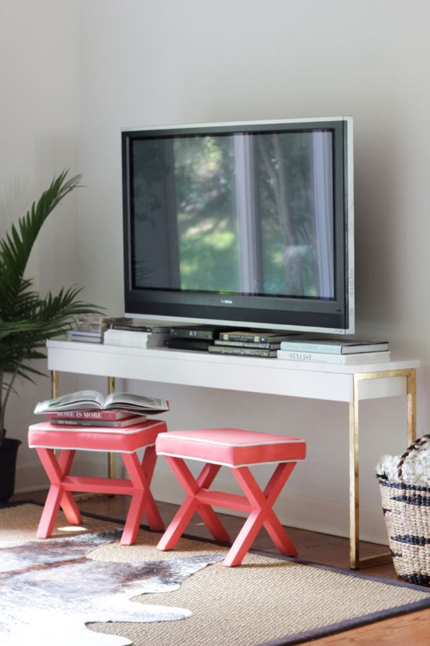 DIY Media Consoles and TV Stands - DIY Gold Leaf IKEA Console Table - Make a Do It Yourself Entertainment Center With These Easy Step By Step Tutorials - Easy Farmhouse Decor Media Stand for Television - Free Plans and Instructions for Building and Painting Your Own DIY Furniture - IKEA Hacks for TV Stand Idea - Quick and Easy Ways to Decorate Your Home On A Budget http://diyjoy.com/diy-tv-media-consoles