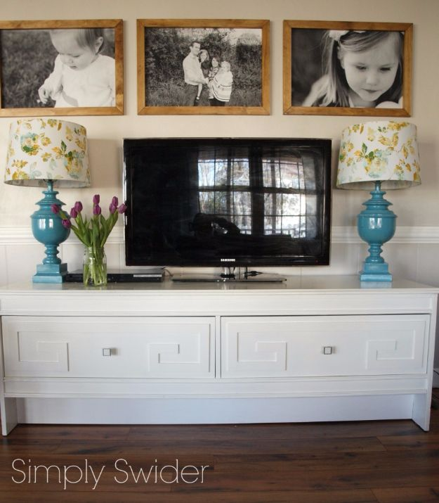 DIY Media Consoles and TV Stands - DIY Greek Key Console - Make a Do It Yourself Entertainment Center With These Easy Step By Step Tutorials - Easy Farmhouse Decor Media Stand for Television - Free Plans and Instructions for Building and Painting Your Own DIY Furniture - IKEA Hacks for TV Stand Idea - Quick and Easy Ways to Decorate Your Home On A Budget http://diyjoy.com/diy-tv-media-consoles