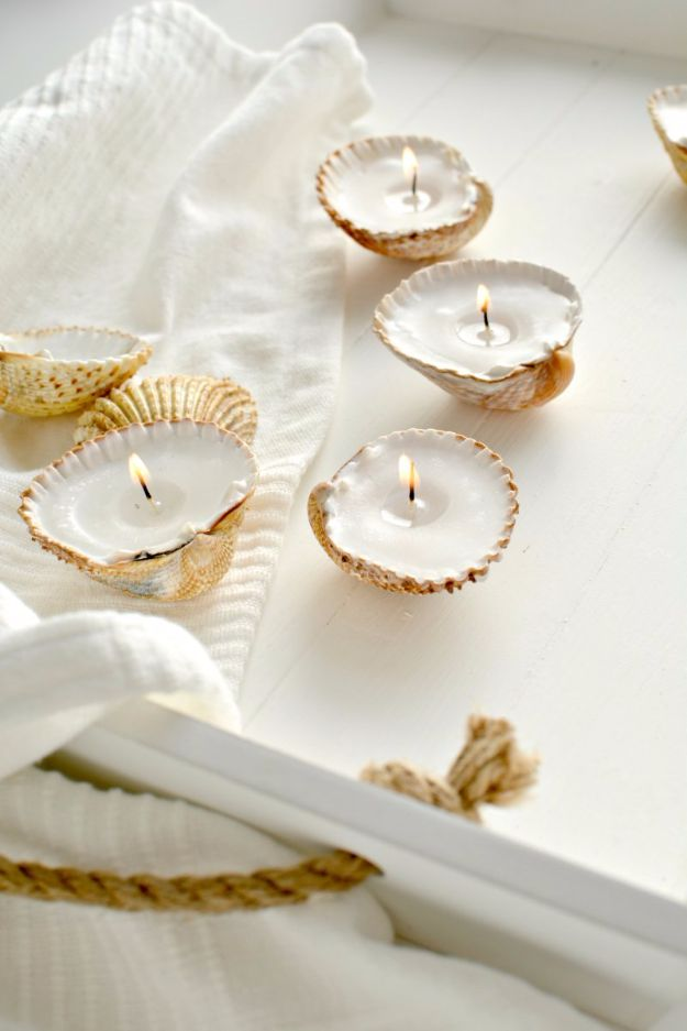 DIY Ideas for Candles - DIY Handmade Shell Candles - Cute, Cheap and Creative Ways to Decorate With Candles - Votives and Candle Holders Make Some Of Our Favorite Home Decor Ideas and Homemade Do It Yourself Gifts - Give One of These Inexpensive Ideas to Mom, Dad and Friends - Easy Dollar Store Crafts With Candle http://diyjoy.com/diy-ideas-candles
