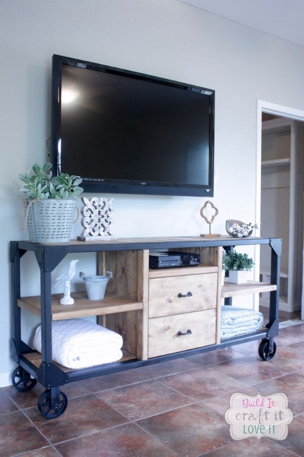 DIY Media Consoles and TV Stands - DIY Industrial Media Console - Make a Do It Yourself Entertainment Center With These Easy Step By Step Tutorials - Easy Farmhouse Decor Media Stand for Television - Free Plans and Instructions for Building and Painting Your Own DIY Furniture - IKEA Hacks for TV Stand Idea - Quick and Easy Ways to Decorate Your Home On A Budget http://diyjoy.com/diy-tv-media-consoles