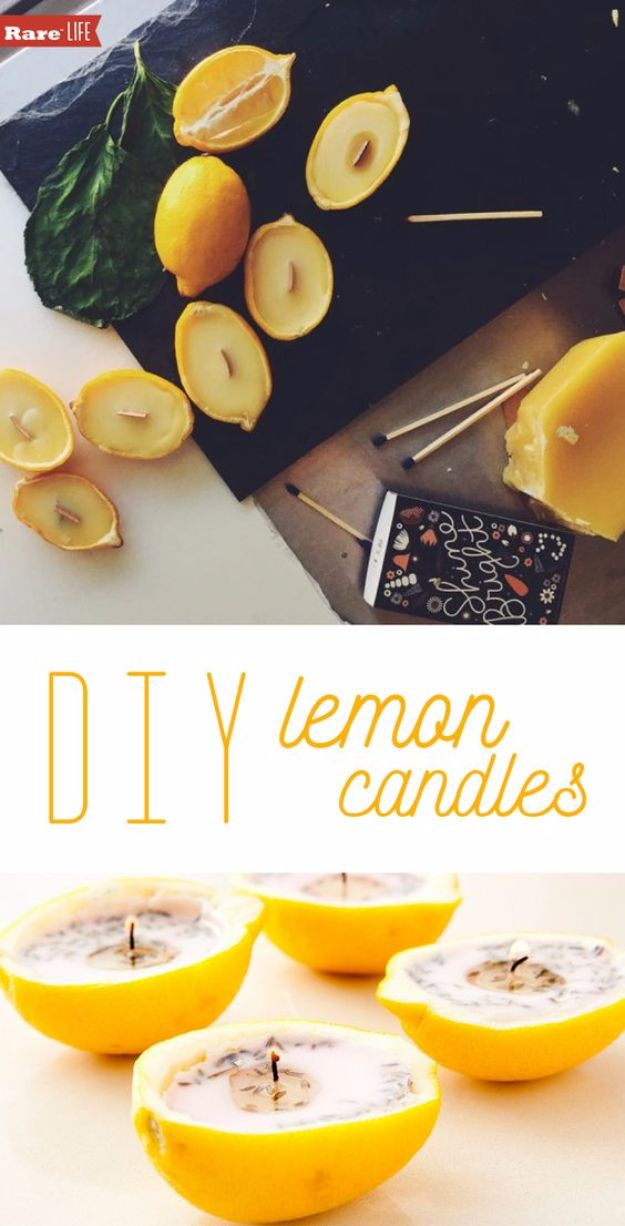 DIY Ideas for Candles - DIY Lemon Candles - Cute, Cheap and Creative Ways to Decorate With Candles - Votives and Candle Holders Make Some Of Our Favorite Home Decor Ideas and Homemade Do It Yourself Gifts - Give One of These Inexpensive Ideas to Mom, Dad and Friends - Easy Dollar Store Crafts With Candle http://diyjoy.com/diy-ideas-candles