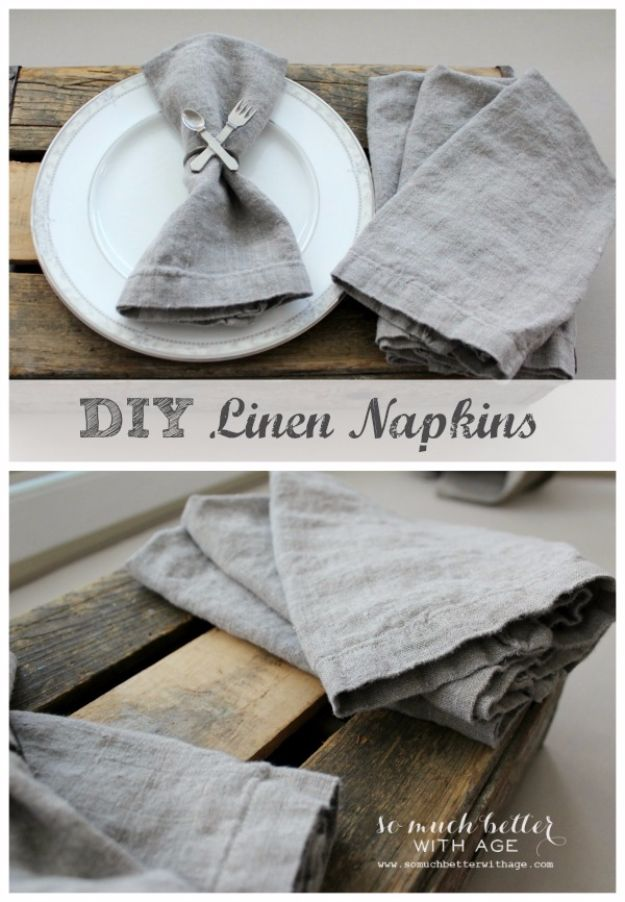 DIY Napkins and Placemats - DIY Linen Napkins - Easy Sewing Projects, Cute No Sew Ideas and Creative Ways To Make a Napkin or Placemat - Quick DIY Gift Ideas for Friends, Family and Awesome Home Decor - Cheap Do It Yourself Kitchen Decor - Simple Wedding Gifts You Can Make On A Budget http://diyjoy.com/diy-napkins-placemats