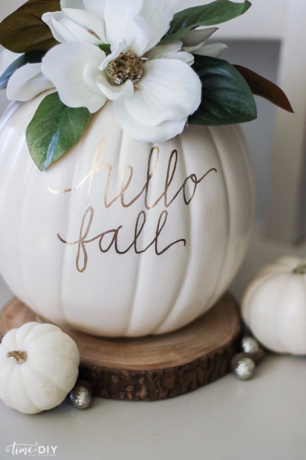 Best Crafts for Fall Decorating - DIY Magnolia Pumpkin - DIY Home Decor, Mason Jar Ideas, Dollar Store Crafts, Rustic Pumpkin Ideas, Wreaths, Candles and Wall Art, Centerpieces, Wedding Decorations, Homemade Gifts, Craft Projects with Leaves, Flowers and Burlap, Painted Art, Candles and Luminaries for Cool Home Decor - Quick and Easy Projects With Step by Step Tutorials and Instructions