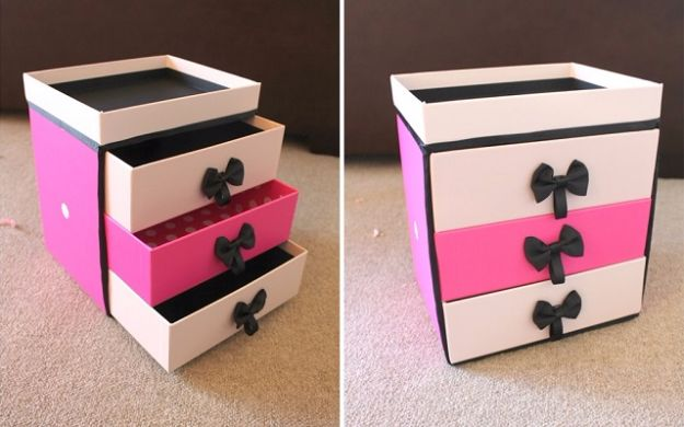 DIY Ideas With Shoe Boxes - DIY Make Up Storage - Shoe Box Crafts and Organizers for Storage - How To Make A Shelf, Makeup Organizer, Kids Room Decoration, Storage Ideas Projects - Cheap Home Decor DIY Ideas for Kids, Adults and Teens Rooms http://diyjoy.com/diy-ideas-shoe-boxes