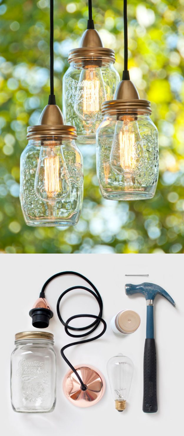 DIY Lighting Ideas and Cool DIY Light Projects for the Home - DIY Mason Jar Pendant Light - Easy DIY Ideas for Chandeliers, lights, lamps, awesome pendants and creative hanging fixtures, complete with tutorials with instructions. Cheap do it yourself lighting tutorials for indoor - bedroom, living room, bathroom, kitchen DIY Projects and Crafts for Women and Men http://diyjoy.com/diy-indoor-lighting-ideas