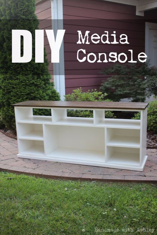 DIY Media Consoles and TV Stands - DIY Media Console - Make a Do It Yourself Entertainment Center With These Easy Step By Step Tutorials - Easy Farmhouse Decor Media Stand for Television - Free Plans and Instructions for Building and Painting Your Own DIY Furniture - IKEA Hacks for TV Stand Idea - Quick and Easy Ways to Decorate Your Home On A Budget http://diyjoy.com/diy-tv-media-consoles