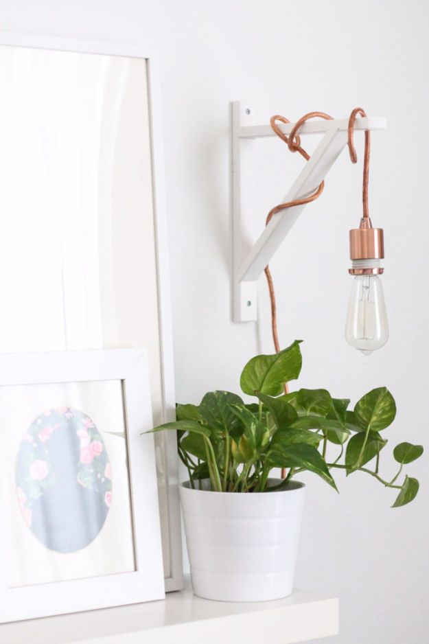 DIY Lighting Ideas and Cool DIY Light Projects for the Home - DIY Metallic Pendant Sconce - Easy DIY Ideas for Chandeliers, lights, lamps, awesome pendants and creative hanging fixtures, complete with tutorials with instructions. Cheap do it yourself lighting tutorials for indoor - bedroom, living room, bathroom, kitchen DIY Projects and Crafts for Women and Men http://diyjoy.com/diy-indoor-lighting-ideas