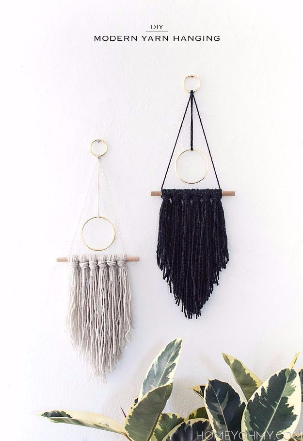 DIY Ideas With Yarn and Best Yarn Crafts - DIY Modern Yarn Hanging - Wall Hangings, Easy Dream Catchers, Crochet Ideas for Teens, Adults and Kids - Knitting , No Sew and Weaving Projects Make Awesome Wall Art and Home Decor on A Budget