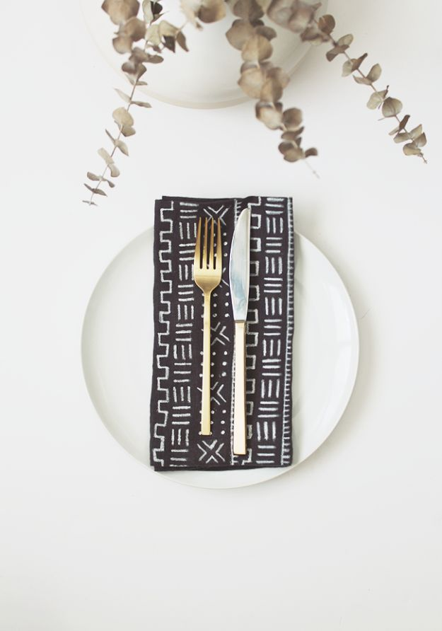 DIY Napkins and Placemats - DIY Mud Cloth Napkins - Easy Sewing Projects, Cute No Sew Ideas and Creative Ways To Make a Napkin or Placemat - Quick DIY Gift Ideas for Friends, Family and Awesome Home Decor - Cheap Do It Yourself Kitchen Decor - Simple Wedding Gifts You Can Make On A Budget