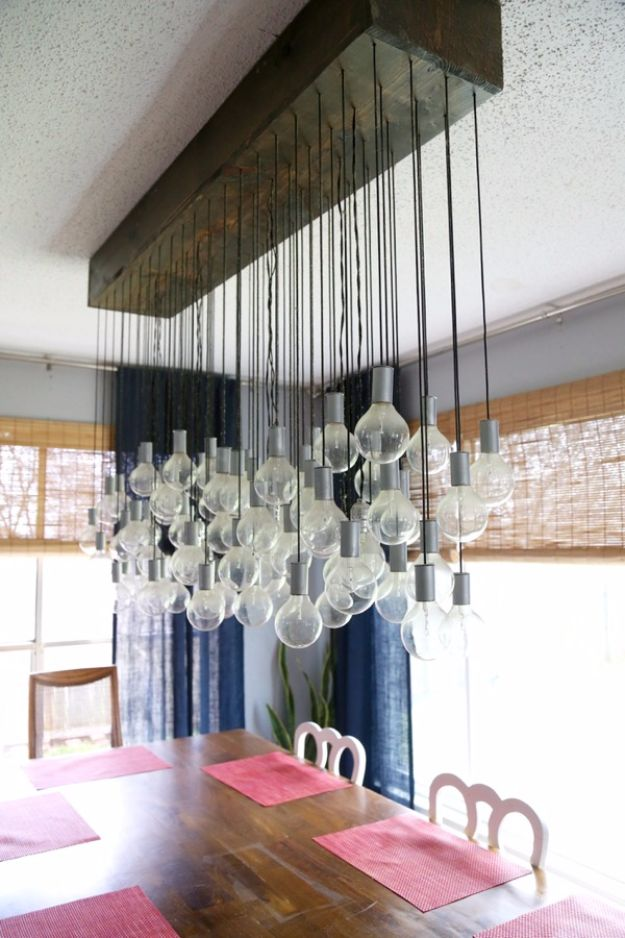 DIY Lighting Ideas and Cool DIY Light Projects for the Home - DIY Multi-Bulb Dining Room Chandelier - Easy DIY Ideas for Chandeliers, lights, lamps, awesome pendants and creative hanging fixtures, complete with tutorials with instructions. Cheap do it yourself lighting tutorials for indoor - bedroom, living room, bathroom, kitchen DIY Projects and Crafts for Women and Men http://diyjoy.com/diy-indoor-lighting-ideas