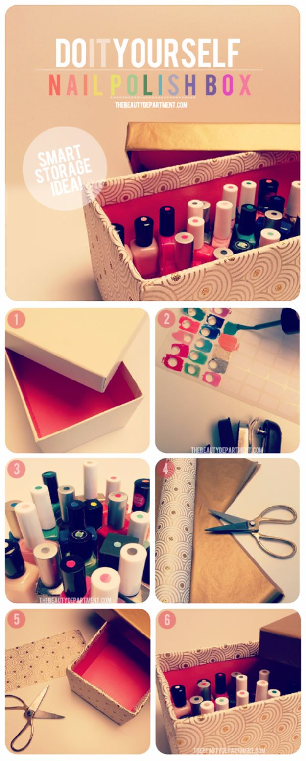 DIY Ideas With Shoe Boxes - DIY Nail Polish Box - Shoe Box Crafts and Organizers for Storage - How To Make A Shelf, Makeup Organizer, Kids Room Decoration, Storage Ideas Projects - Cheap Home Decor DIY Ideas for Kids, Adults and Teens Rooms http://diyjoy.com/diy-ideas-shoe-boxes