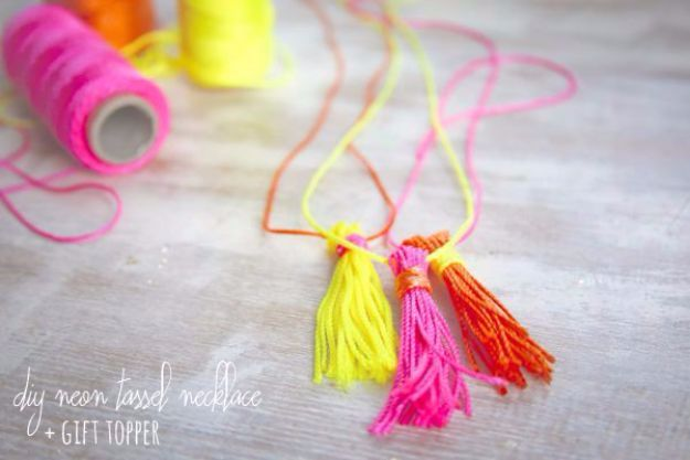DIY Ideas With Yarn and Best Yarn Crafts - DIY Neon Tassel Necklace - Wall Hangings, Easy Dream Catchers, Crochet Ideas for Teens, Adults and Kids - Knitting , No Sew and Weaving Projects Make Awesome Wall Art and Home Decor on A Budget