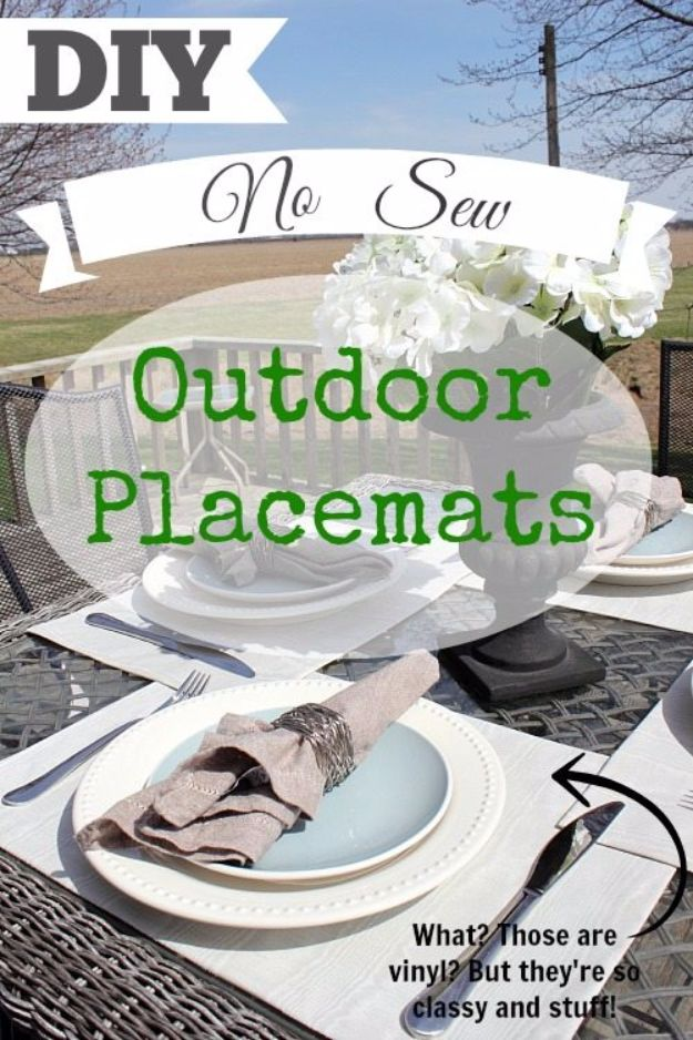 DIY Napkins and Placemats - DIY No Sew Outdoor Placemats - Easy Sewing Projects, Cute No Sew Ideas and Creative Ways To Make a Napkin or Placemat - Quick DIY Gift Ideas for Friends, Family and Awesome Home Decor - Cheap Do It Yourself Kitchen Decor - Simple Wedding Gifts You Can Make On A Budget