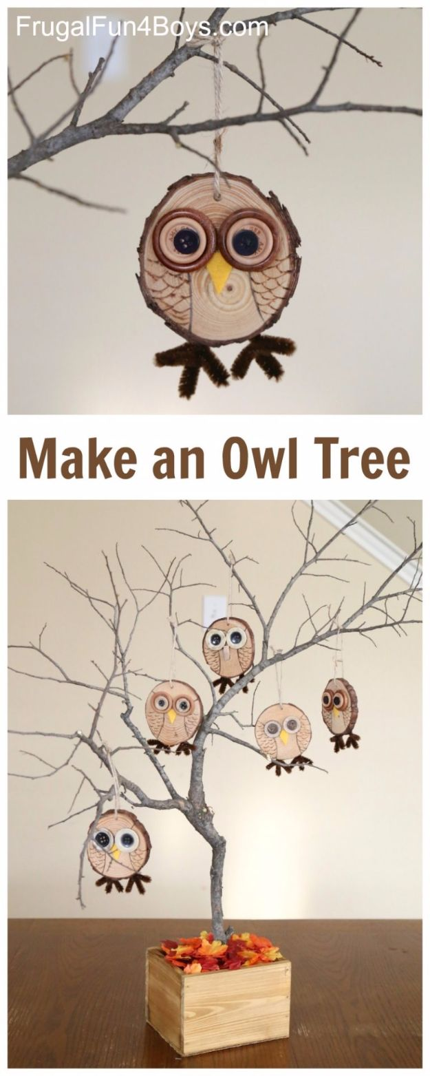 Best Crafts for Fall Decorating - DIY Owl Tree - DIY Home Decor, Mason Jar Ideas, Dollar Store Crafts, Rustic Pumpkin Ideas, Wreaths, Candles and Wall Art, Centerpieces, Wedding Decorations, Homemade Gifts, Craft Projects with Leaves, Flowers and Burlap, Painted Art, Candles and Luminaries for Cool Home Decor - Quick and Easy Projects With Step by Step Tutorials and Instructions http://diyjoy.com/best-fall-decorating-ideas