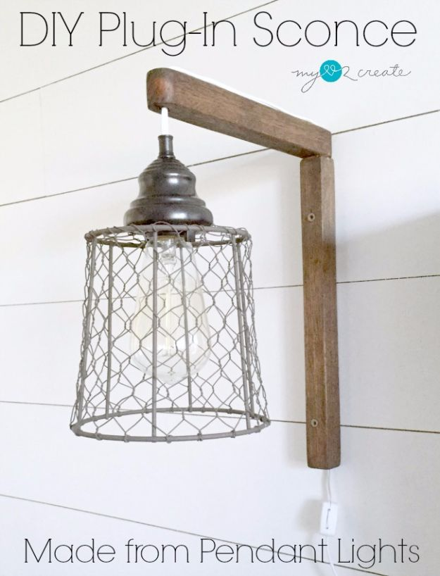 DIY Lighting Ideas and Cool DIY Light Projects for the Home - DIY Plug-in Sconces - Easy DIY Ideas for Chandeliers, lights, lamps, awesome pendants and creative hanging fixtures, complete with tutorials with instructions. Cheap do it yourself lighting tutorials for indoor - bedroom, living room, bathroom, kitchen DIY Projects and Crafts for Women and Men
