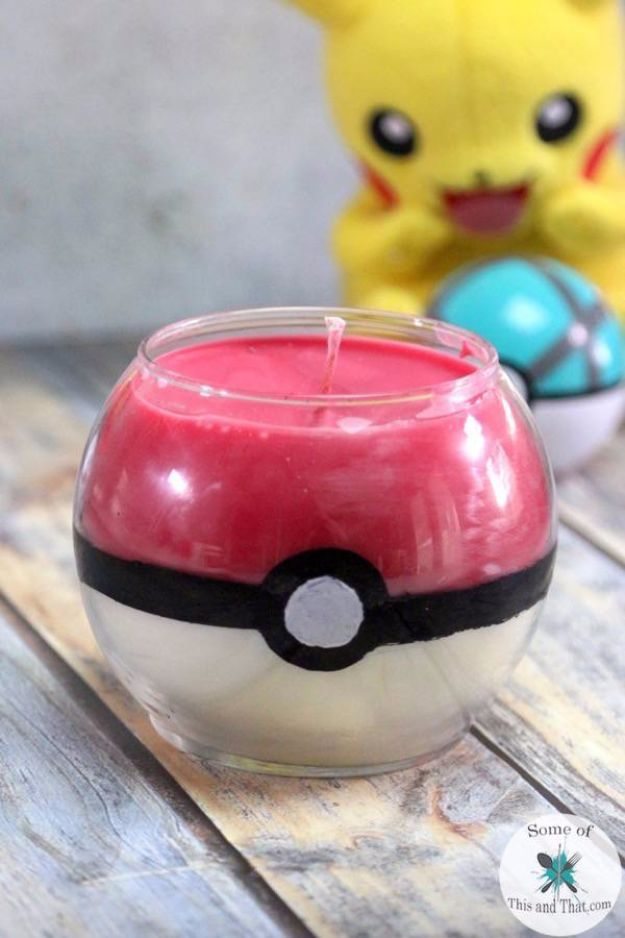 DIY Ideas for Candles - DIY Pokeball Candle - Cute, Cheap and Creative Ways to Decorate With Candles - Votives and Candle Holders Make Some Of Our Favorite Home Decor Ideas and Homemade Do It Yourself Gifts - Give One of These Inexpensive Ideas to Mom, Dad and Friends - Easy Dollar Store Crafts With Candle http://diyjoy.com/diy-ideas-candles