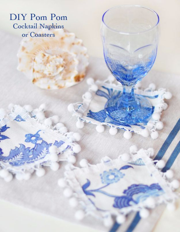 DIY Napkins and Placemats - DIY Pom Pom Cocktail Napkins - Easy Sewing Projects, Cute No Sew Ideas and Creative Ways To Make a Napkin or Placemat - Quick DIY Gift Ideas for Friends, Family and Awesome Home Decor - Cheap Do It Yourself Kitchen Decor - Simple Wedding Gifts You Can Make On A Budget