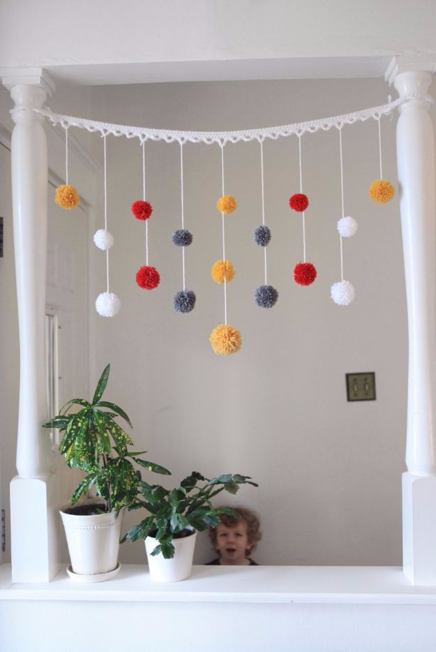DIY Ideas With Yarn and Best Yarn Crafts - DIY Pom Pom Garland - Wall Hangings, Easy Dream Catchers, Crochet Ideas for Teens, Adults and Kids - Knitting , No Sew and Weaving Projects Make Awesome Wall Art and Home Decor on A Budget