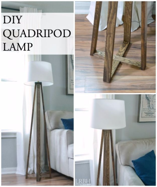 DIY Lighting Ideas and Cool DIY Light Projects for the Home - DIY Quadripod Lamp - Easy DIY Ideas for Chandeliers, lights, lamps, awesome pendants and creative hanging fixtures, complete with tutorials with instructions. Cheap do it yourself lighting tutorials for indoor - bedroom, living room, bathroom, kitchen DIY Projects and Crafts for Women and Men