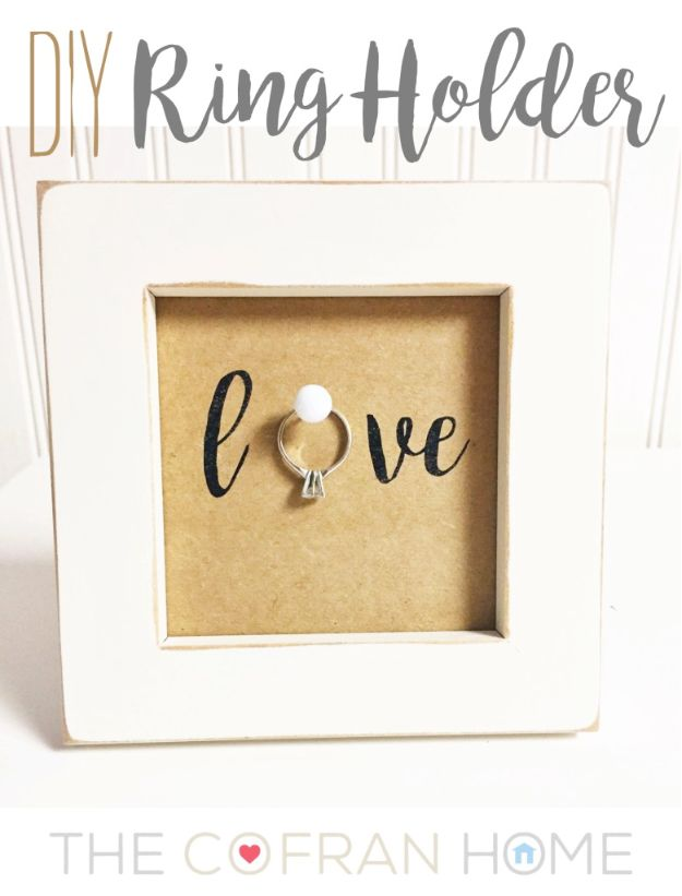 Cheap Wedding Gift Ideas - DIY Ring Holder - DIY Wedding Gifts You Can Make On A Budget - Quick and Easy Ideas for Handmade Presents for the Couple Getting Married - Inexpensive Things To Make for Bride and Groom - DIY Home Decor, Wall Art, Glassware, Furniture, Tableware, Place Settings, Cake and Cookie Plates and Glasses http://diyjoy.com/cheap-diy-wedding-gift-ideas