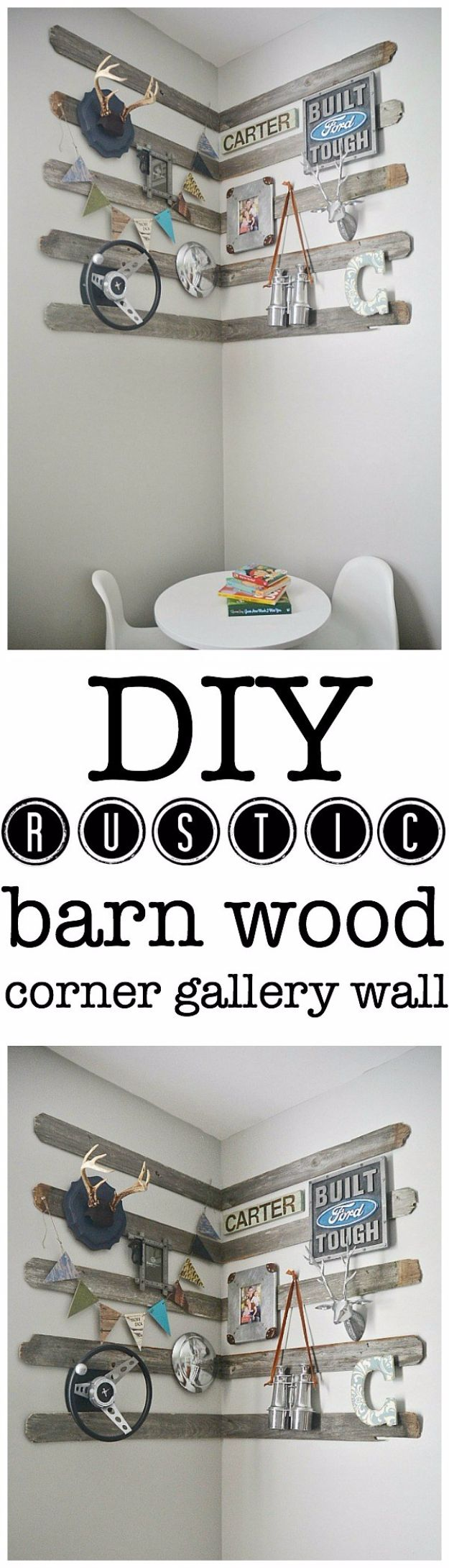 Rustic Wall Art Ideas - DIY Rustic Barn Wood Corner Gallery Wall - DIY Farmhouse Wall Art and Vintage Decor for Walls - Country Crafts and Rustic Home Decor Made Easy With Instructions and Tutorials - String Art, Repurposed Pallet Projects, Mason Jar Crafts, Vintage Signs, Word Art and Letters, Monograms and Sewing Projects