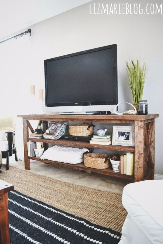 DIY Media Consoles and TV Stands - DIY Rustic TV Console - Make a Do It Yourself Entertainment Center With These Easy Step By Step Tutorials - Easy Farmhouse Decor Media Stand for Television - Free Plans and Instructions for Building and Painting Your Own DIY Furniture - IKEA Hacks for TV Stand Idea - Quick and Easy Ways to Decorate Your Home On A Budget http://diyjoy.com/diy-tv-media-consoles