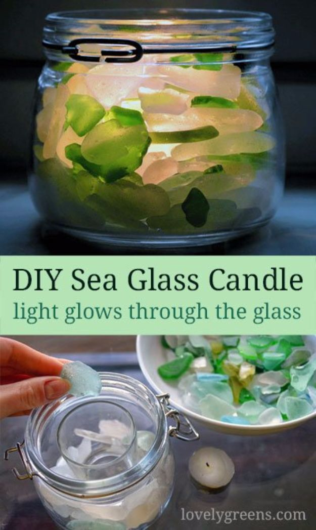 DIY Ideas for Candles - DIY Sea Glass Candle - Cute, Cheap and Creative Ways to Decorate With Candles - Votives and Candle Holders Make Some Of Our Favorite Home Decor Ideas and Homemade Do It Yourself Gifts - Give One of These Inexpensive Ideas to Mom, Dad and Friends - Easy Dollar Store Crafts With Candle http://diyjoy.com/diy-ideas-candles