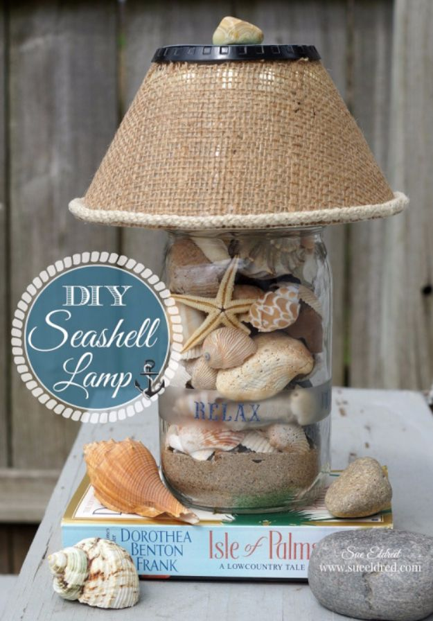 DIY Lighting Ideas and Cool DIY Light Projects for the Home - DIY Seashell Lamp - Easy DIY Ideas for Chandeliers, lights, lamps, awesome pendants and creative hanging fixtures, complete with tutorials with instructions. Cheap do it yourself lighting tutorials for indoor - bedroom, living room, bathroom, kitchen DIY Projects and Crafts for Women and Men http://diyjoy.com/diy-indoor-lighting-ideas