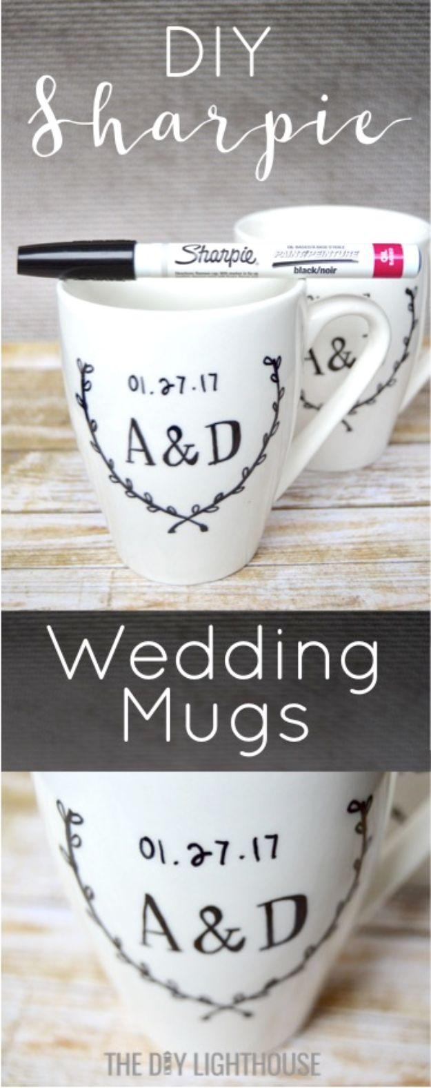 Cheap Wedding Gift Ideas - DIY Sharpie Wedding Mugs - DIY Wedding Gifts You Can Make On A Budget - Quick and Easy Ideas for Handmade Presents for the Couple Getting Married - Inexpensive Things To Make for Bride and Groom - DIY Home Decor, Wall Art, Glassware, Furniture, Tableware, Place Settings, Cake and Cookie Plates and Glasses http://diyjoy.com/cheap-diy-wedding-gift-ideas