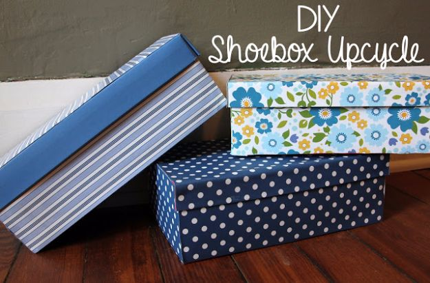 DIY Ideas With Shoe Boxes - DIY Shoe Box Upcycle - Shoe Box Crafts and Organizers for Storage - How To Make A Shelf, Makeup Organizer, Kids Room Decoration, Storage Ideas Projects - Cheap Home Decor DIY Ideas for Kids, Adults and Teens Rooms http://diyjoy.com/diy-ideas-shoe-boxes