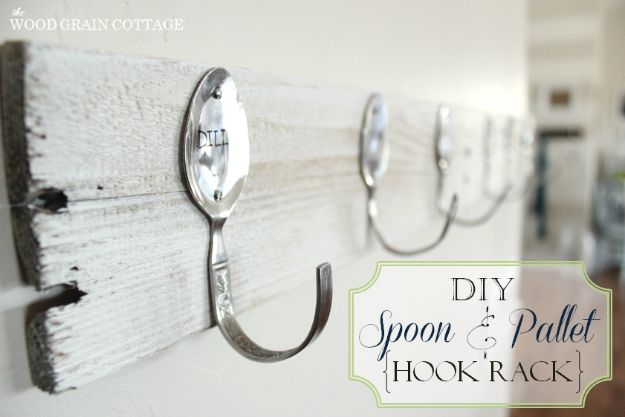 DIY Silverware Upgrades - DIY Spoon And Pallet Hook Rack - Creative Ways To Improve Boring Silver Ware and Palce Settings - Paint, Decorate and Update Your Flatware With These Creative Do IT Yourself Tutorials- Forks, Knives and Spoons all Get Dressed Up With These New Looks For Kitchen and Dining Room