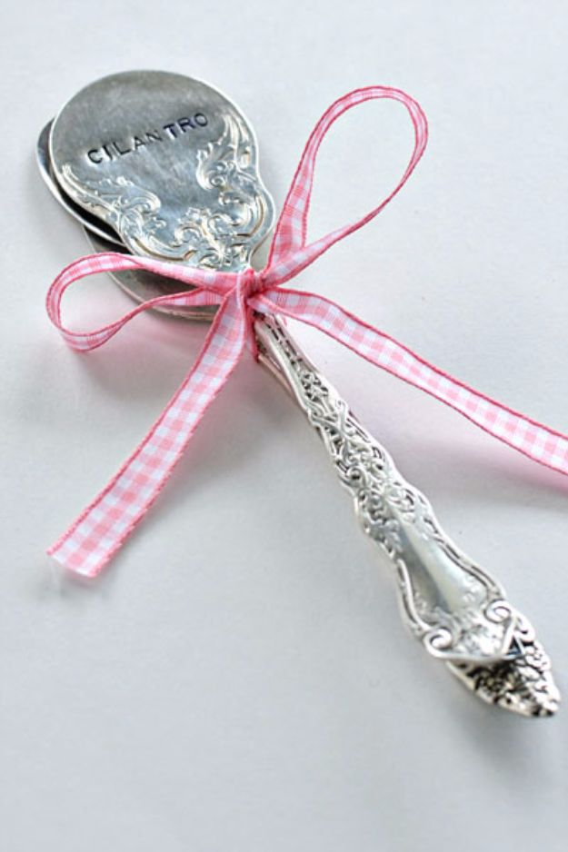 DIY Silverware Upgrades - DIY Stamped Spoon Plant Markers - Creative Ways To Improve Boring Silver Ware and Palce Settings - Paint, Decorate and Update Your Flatware With These Creative Do IT Yourself Tutorials- Forks, Knives and Spoons all Get Dressed Up With These New Looks For Kitchen and Dining Room http://diyjoy.com/diy-silverware-upgrades