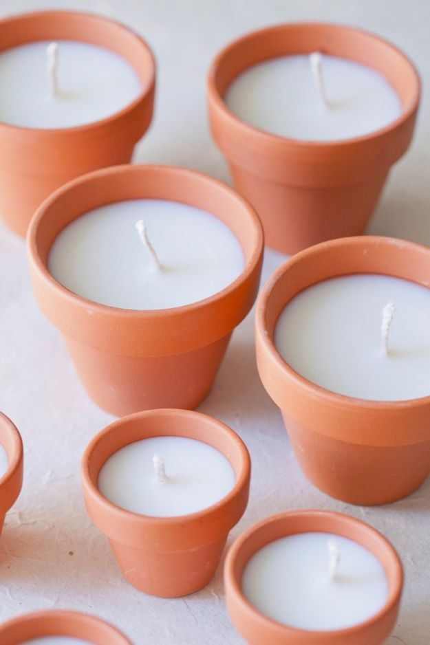 DIY Ideas for Candles - DIY Terracotta Votives - Cute, Cheap and Creative Ways to Decorate With Candles - Votives and Candle Holders Make Some Of Our Favorite Home Decor Ideas and Homemade Do It Yourself Gifts - Give One of These Inexpensive Ideas to Mom, Dad and Friends - Easy Dollar Store Crafts With Candle http://diyjoy.com/diy-ideas-candles