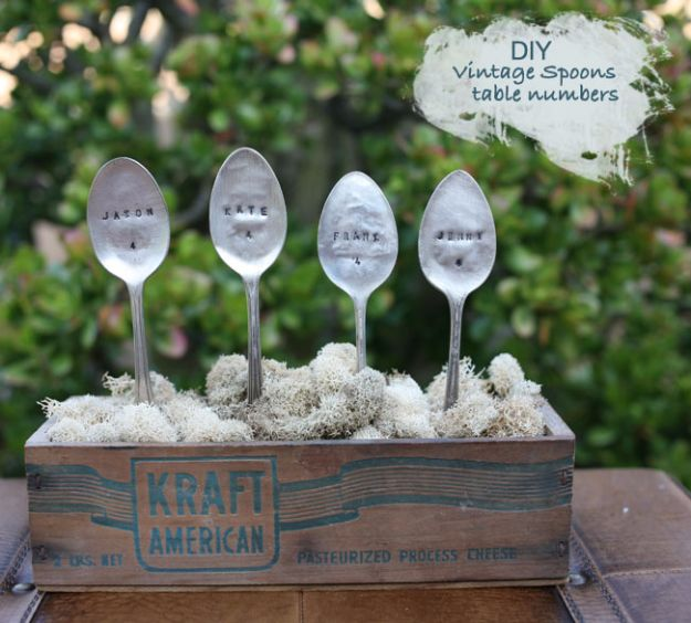 DIY Silverware Upgrades - DIY Vintage Spoons Table Numbers - Creative Ways To Improve Boring Silver Ware and Palce Settings - Paint, Decorate and Update Your Flatware With These Creative Do IT Yourself Tutorials- Forks, Knives and Spoons all Get Dressed Up With These New Looks For Kitchen and Dining Room http://diyjoy.com/diy-silverware-upgrades