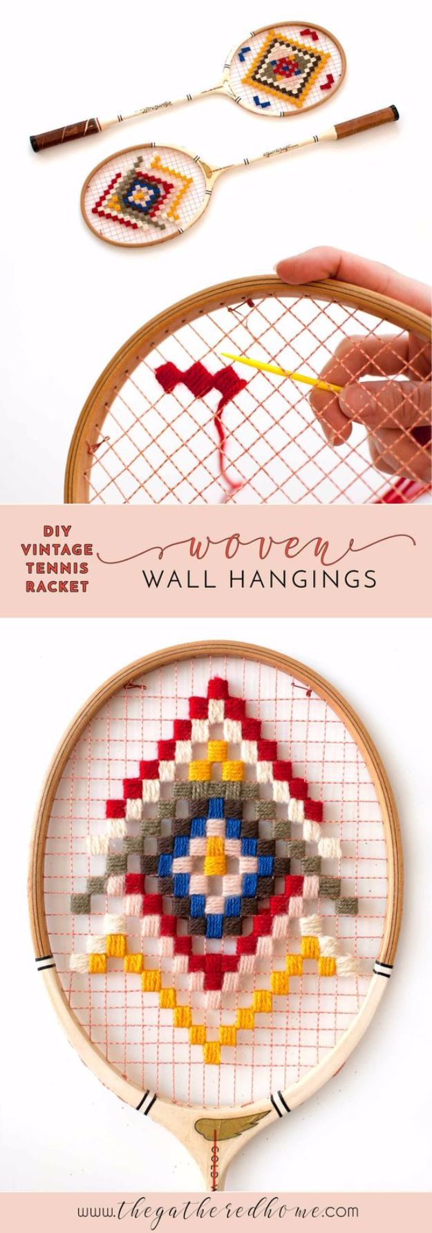 DIY Ideas With Yarn and Best Yarn Crafts - DIY Vintage Tennis Racket Wall Hangings - Wall Hangings, Easy Dream Catchers, Crochet Ideas for Teens, Adults and Kids - Knitting , No Sew and Weaving Projects Make Awesome Wall Art and Home Decor on A Budget