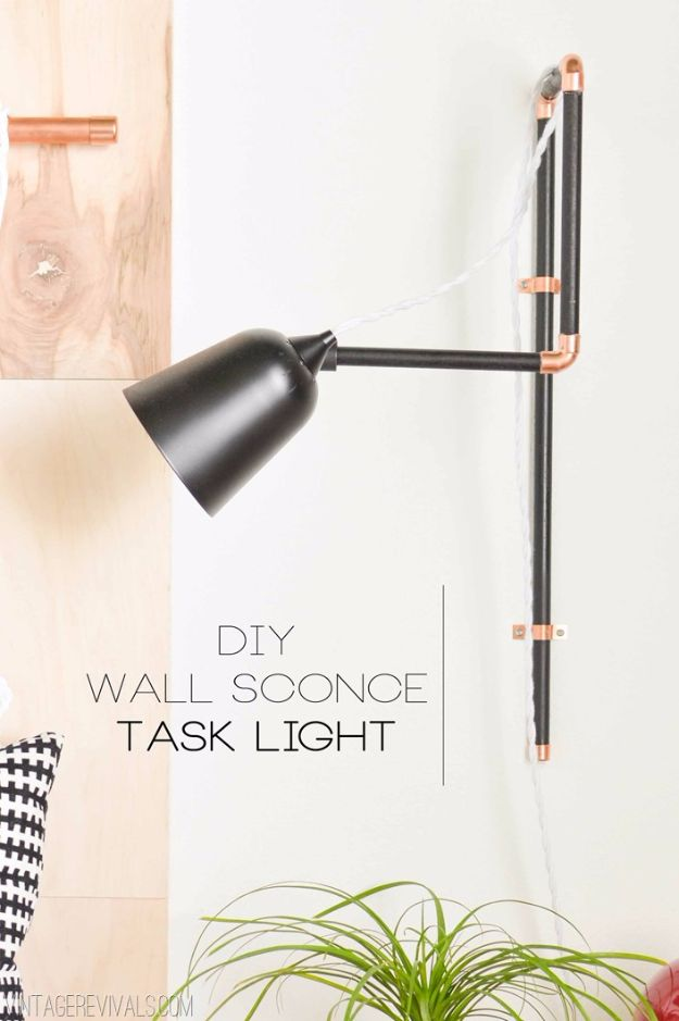 DIY Lighting Ideas and Cool DIY Light Projects for the Home - DIY Wall Sconce Task Lights - Easy DIY Ideas for Chandeliers, lights, lamps, awesome pendants and creative hanging fixtures, complete with tutorials with instructions. Cheap do it yourself lighting tutorials for indoor - bedroom, living room, bathroom, kitchen DIY Projects and Crafts for Women and Men http://diyjoy.com/diy-indoor-lighting-ideas