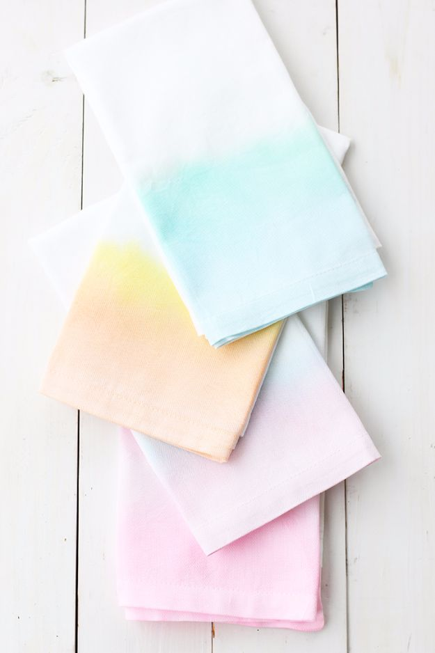 DIY Napkins and Placemats - DIY Watercolor Cloth Napkins - Easy Sewing Projects, Cute No Sew Ideas and Creative Ways To Make a Napkin or Placemat - Quick DIY Gift Ideas for Friends, Family and Awesome Home Decor - Cheap Do It Yourself Kitchen Decor - Simple Wedding Gifts You Can Make On A Budget http://diyjoy.com/diy-napkins-placemats