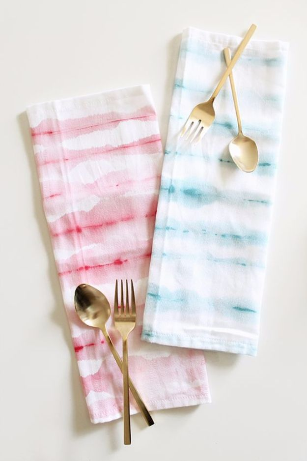 DIY Napkins and Placemats - DIY Watercolor Stripe Napkins - Easy Sewing Projects, Cute No Sew Ideas and Creative Ways To Make a Napkin or Placemat - Quick DIY Gift Ideas for Friends, Family and Awesome Home Decor - Cheap Do It Yourself Kitchen Decor - Simple Wedding Gifts You Can Make On A Budget http://diyjoy.com/diy-napkins-placemats